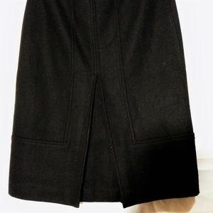 Zara Basic Womens Black Wool Blend Midi Skirt XS/2